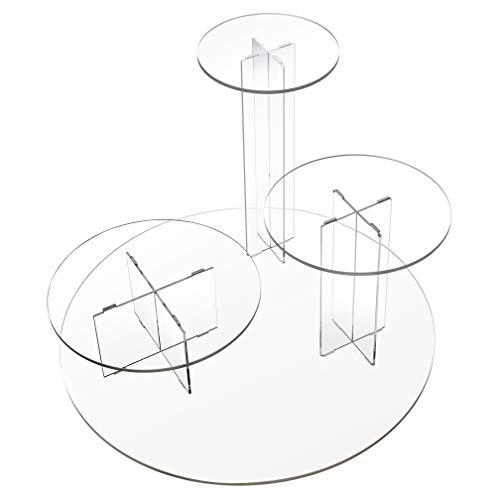 Nisorpa Round Acrylic Stand,3 Tier Acrylic Cupcake Stand Clear Glass Cake Display Holder Dessert Food Display Serving Tower Mushroom Design Holder For Wedding Birthday Party