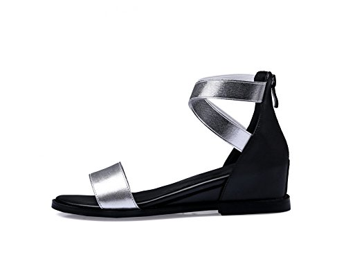 Zipper Open AllhqFashion Solid Silver Low Toe Materials Womens Sandals Heels Blend Wgrw0XYTqr