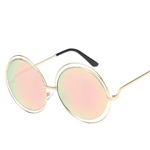 Round sunglasses Zhhaijq Gold frame for lunettes womens with soleil Pink de metal mens des Case Glasses rnFWqrS