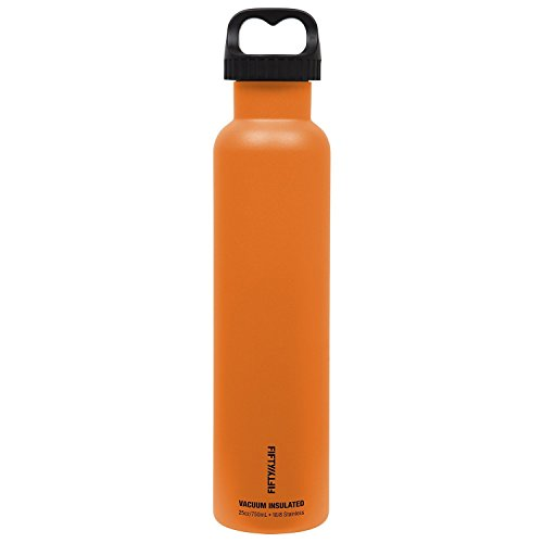 FIFTY/FIFTY Vacuum-Insulated Stainless Steel Bottle with Narrow Mouth - 25 oz. Capacity - Solar Orange (Bottles Twenty)