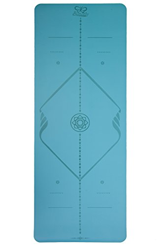 Butterfly Yoga Mat - The Best Eco-Friendly Non Slip Yoga Mat with Body Alignment Lines Skin-Friendly and Wet-Grip Surface Free Carry Bag+Cooling TowelPerfect For Hot Yoga Blue New