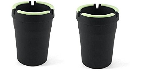 B OUT GLOW IN THE DARK CUP - SELF EXTINGUISHING CIGARETTE ASHTRAY - BUTT BUCKET - PORTABLE ASHTRAY - BLACK (Black Plastic Ashtray)