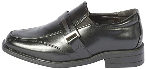 Image of Jodano Collection Boys Memory Foam Slip On Dress Shoe, Black Side Buckle, 9 M US Toddler'