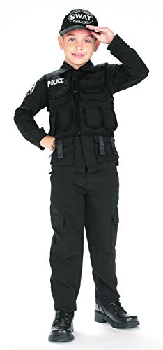 [Kids SWAT Police Boys Cop Outfit Halloween Costume M Boys Medium (5-7 years)] (Swat Vest Costume)
