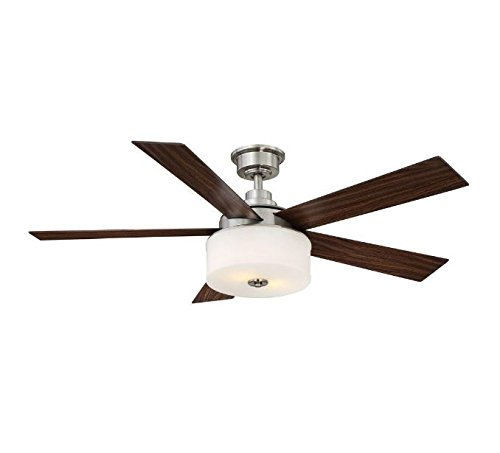 Home Decorators Collection Lindbrook 52 in. Brushed Nickel Ceiling Fan W/ remote
