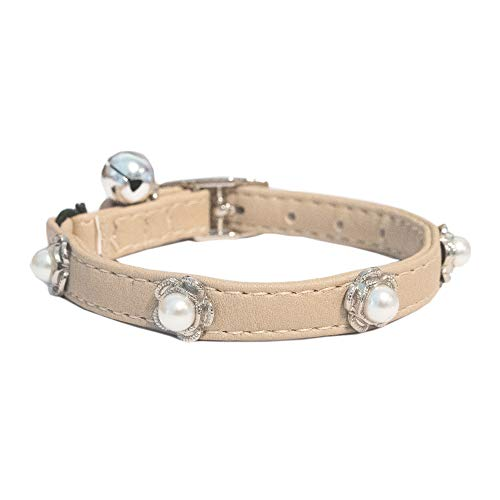 Gyapet Cat and Dog Collar with Bell Leather Pet Collars Adjustable Cute Pearl Jewelry Girl Deluxe
