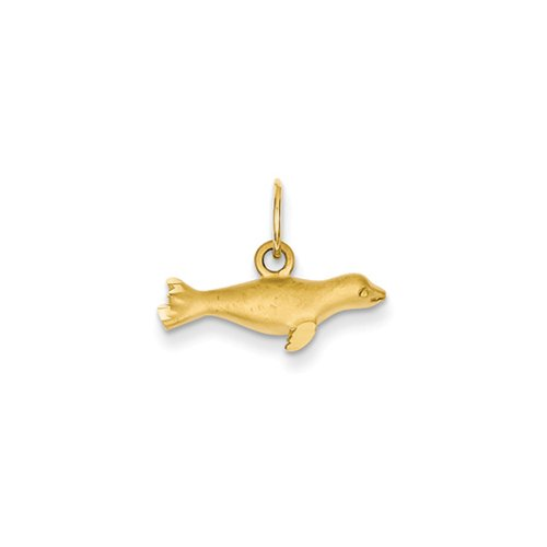 14k Yellow Gold Satin Seal Charm