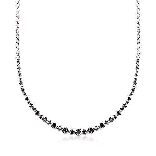 Ross-Simons 2.00 ct. t.w. Bezel-Set Black Diamond Graduated Necklace in Sterling Silver