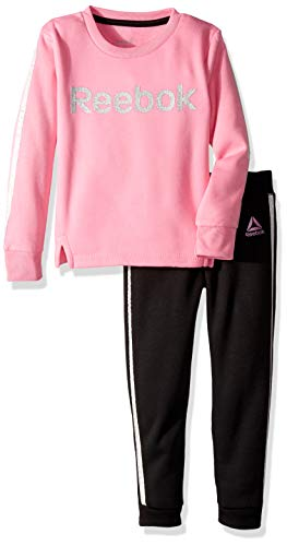 Reebok Girls' Toddler 2 Piece Spun Poly Fleece Sweatshirt and Matching Jog Pant, Black, 4T