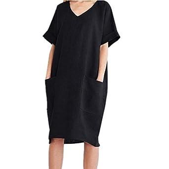 Mujer Mujer Verano De Playa Vestido De Lino De Verano Vestido Mujer Mujer Camiseta Algodón Casual Tallas Grandes Vestido De Señoras Vestidos De Playa Con Bolsillo Ropa Brandknewmag Com