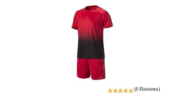 KINDOYO Niño Hombres Ropa de Fútbol Traje de Camiseta y Pantalones Cortos Entrenamiento Competencia Ropa de Deporte Conjunto, Rojo/2XL: Amazon.es: Ropa y accesorios