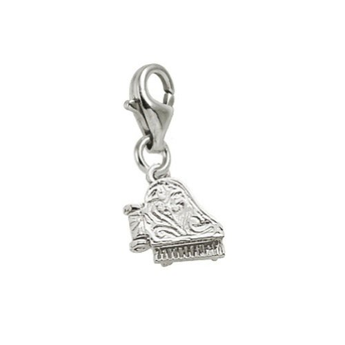 14k White Gold Piano Charm With Lobster Claw Clasp, Charms for Bracelets and Necklaces