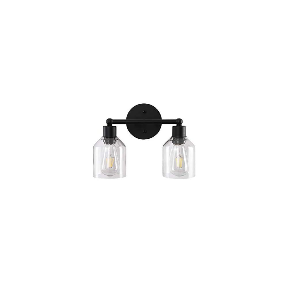 Black Bathroom Vanity Light Fixtures Farmhouse Industrial Bathroom Lighting Over Bath Makeup Mirror with Clear Glass…