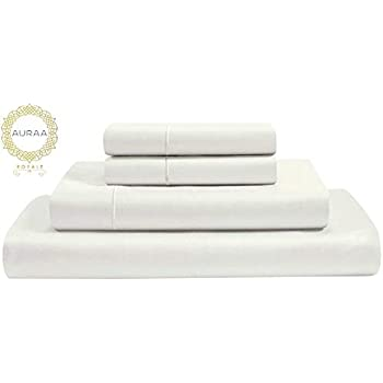 AURAA Royale 1000 Thread Count True Egyptian Extra Long Staple Cotton Sheet Set,4 Pc Set,Sateen Weave,Hotel Collection Soft Luxury Bedding,Fits Upto 16