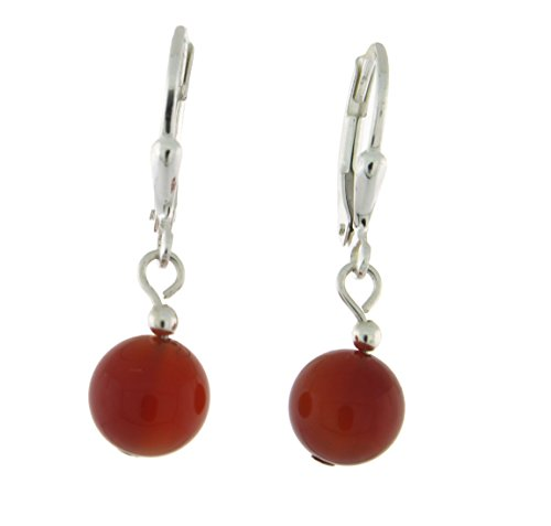 Sterlig Silver 8mm Gemstone Bead Dangle Lever Back Earrings, Carnelian
