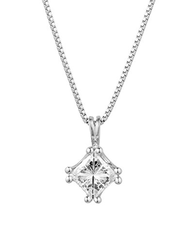 Forever Classic Square 6.0mm Moissanite Pendant Necklace, 1.30ct DEW by Charles & Colvard