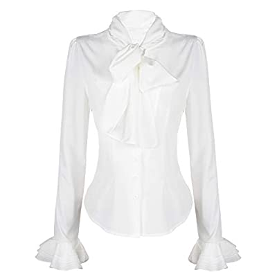 PrettyGuide Women 50's Retro Silky Bow Tie Shirts Ruffle Victoria Blouse Tops at  Women's Clothing store