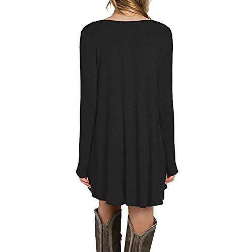 Automne ZzZz en Vrac Hiver Elgant Manches Chic Vintage Femme Robe Tendance Longues Mode Robe Femmes Noir Nouveau rq86rx0