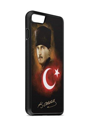 iPhone 7 Atatürk Türkiye 2 SILIKON Flipcase Tasche Hülle Case Cover Schutz Handy SCHWARZ