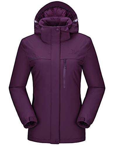 CAMEL CROWN Womens Ski Jacket Waterproof Snowboard Winter Snow Warm Ski Coat for Women Drak Purple XXL