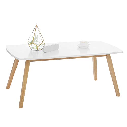 Coffee Wood Tables Modern (SONGMICS Coffee/Cocktail Table with Solid Rubber Wood Legs, Modern Style, 43.3