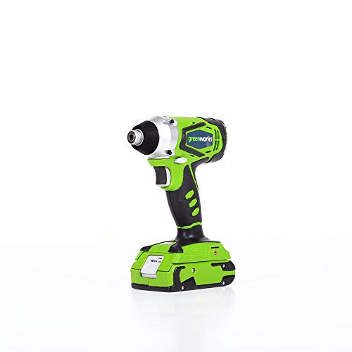 Greenworks 24V Cordless Impact Driver, 2.0 AH Battery Included 37032B For Sale