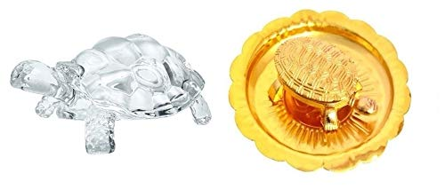 Crystal Tortoise - SAHAYA Combo of Crystal Glass Tortoise and Golden Tortoise on Plate to fulfill Your Wishes and Desires, give Longevity to Life, Bring Peace, Luck and Prosperity