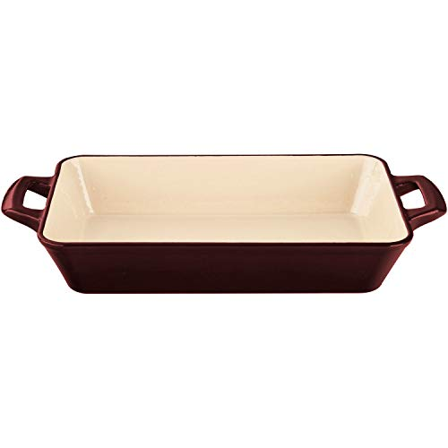 La Cuisine LC 8205 Small Deep Cast Iron Roasting Pan with Enamel Finish, Ruby,