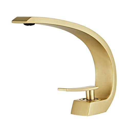 Wovier Brushed Gold Bathroom Sink Faucet,Single Handle Single Hole Vessel Lavatory Faucet,Basin Mixer Tap