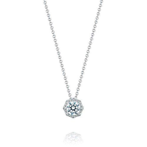 Tacori FP804RD 18K White Gold Diamond & CZ Pendant Necklace, 18