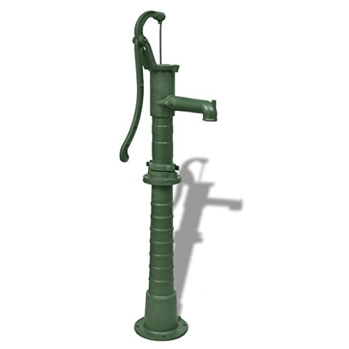 Festnight Antique Style Cast Iron Decorative Garden Water Pump with Stand green