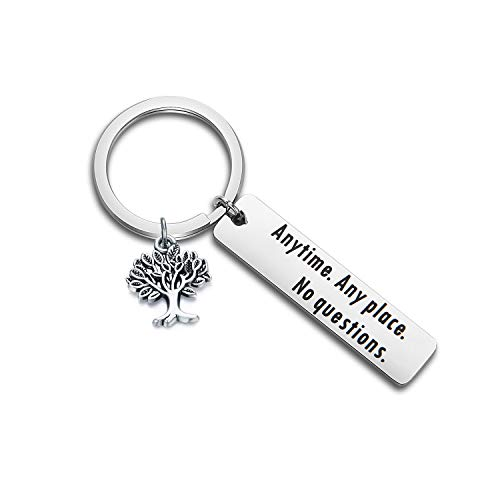 CHOROY Back to School Gift for Daughter/Son Going to College Gift Anytime Any Place No Questions Inspirational Keychain Gift (Anytime Any Place No Questions)