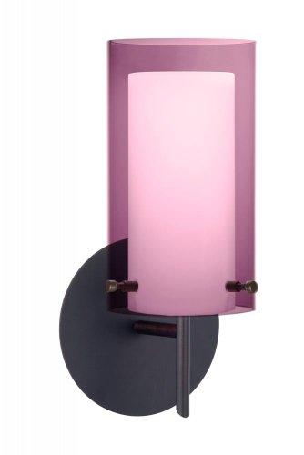 (Besa Lighting 1SW-A44007-BR 1X40W G9 Pahu 4 Wall Lighting Fixture with Transparent Amethyst/Opal Glass, Bronze Finish )