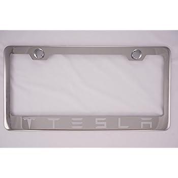 Amazon.com: Tesla Chrome License Plate Frame with Cap: Automotive