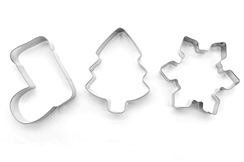 ShengHai Christmas Cookie Cutter Set - 3 Piece Favorite Holiday Cookie Cutters, Include: Christmas Tree, Snowflake and Christmas Boot (Large)