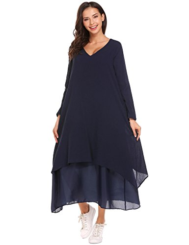 Unibelle Women V Neck Boho Long Maxi Dress Vintage Loose Long Sleeve Cotton Linen Dresses Studded Pocket Dress