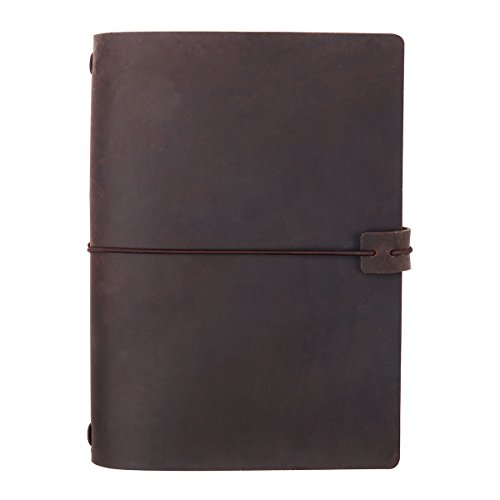 A5 Travelers Notebook Cover, Genuine Leather Cover for 5x8 Travel Journals Softcover & Hardcover, Elastic Hold & Closure, Dark Brown