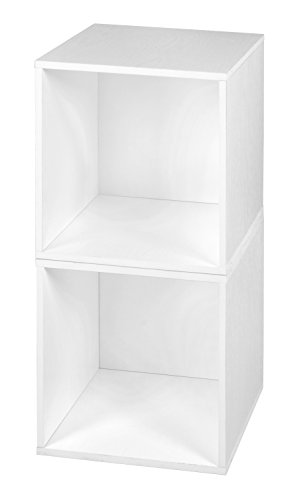Niche PC2PKWH Cubo Collection Modular Storage Cubes, Set of 2, White Wood - Shelf 2 Modular Storage