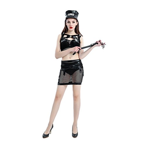 Plus Size Womens Police Officer Costumes - GRACES Women's Sexy Cop Officer Costume Police Uniform (S, Black)