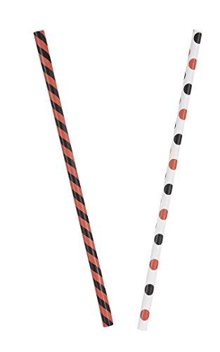 Orange & Black Stripes & Dots Halloween Paper Straws, (Paper Halloween Stripe)