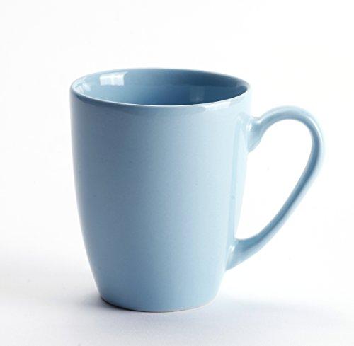 LEANDALE Aaron Bistro Ceramic Coffee Tea Mug Cup 12 OZ Solid MultiColor Light Blue (Light Blue Coffee)