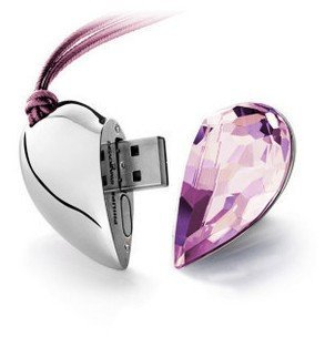 8GB Crystal Heart USB Flash Drive Necklace