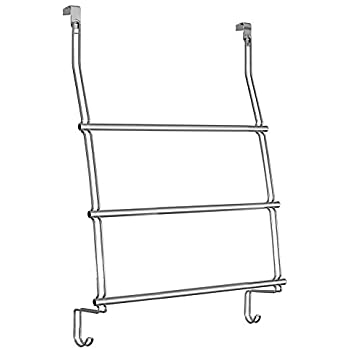 InterDesign Classico Over The Door Towel Rack With Hooks For Bathroom    Chrome