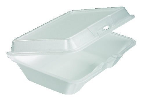 "Dart 205HT1 9.3"" Length, 6.4"" Width, 2.9"" Height Single Compartment Foam Hinged Lid Carryout White Container"