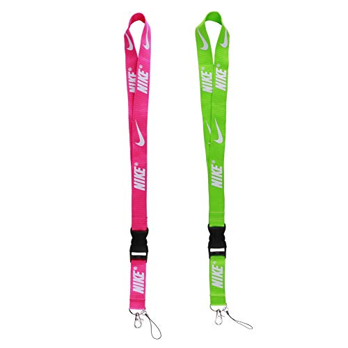(Lanyard Key Chain Holder, Neck Lanyard with Hook and Buckle for Keys Phones ID Badge Holder Bags Accessories 2 Pack -Green and)