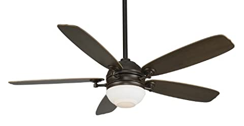 Fanimation FP8000OB-220 52-Inch Akira 5-Blade Ceiling Fan with 220-Volt White Bulb, Oil Rubbed Bronze with Walnut/Mahogany - Fanimation Oil
