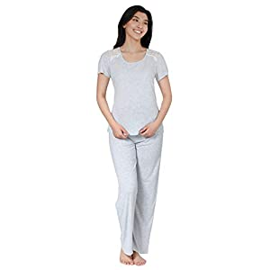 Jones New York Women's Sleepwear Two-Piece Pajama Set, Pajama Top and Pants, Soft Comfortable Lightweight PJ Set for Women