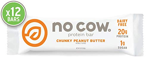 No Cow Protein bar, Chunky Peanut Butter, 21g Plant Based Protein, Keto Friendly, Low Sugar, Dairy Free, Gluten Free, Vegan, High Fiber, Non-GMO, 12Count Bar Peanut Butter Caramel