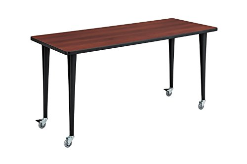 Rumba Tables, Fixed Post Leg Table with Casters, 60 x 24'' Cherry Tabletop & Black Base by Safco