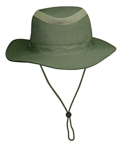 Unisex Safari Sun Bucket Hat with Hidden Cash/Card Pocket - Lightweight - 100% Quik-Dry Nylon - 50 UPF-UV Sun Protection - Small/Medium (Olive)